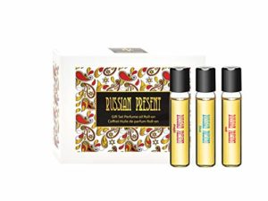 RUSSIAN PRESENT Huile de parfum pour femme – 5 ml miniature Roller – Parfum comme Maquillage (COFFRET)
