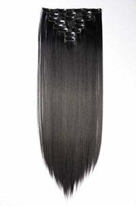 S-noilite – Extension a Clip Cheveux Naturel Clip in Hair Extensions Tête Pleine 8 Bandes 18 Clips 58cm Tout Droit – Noir foncé