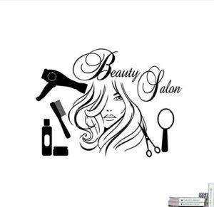 Sticker mural,Stickers muraux papier peint coiffeur filles miroir peigne sèche-cheveux salon de beauté Salon de beauté boutique salle de bain fenêtre vinyle décor 58X43 cm