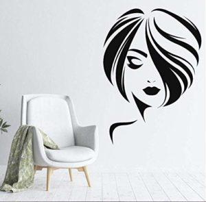 Stickers Muraux Stickers Art Applique Murale Belle Fille Cheveux Courts Coiffure Coupe De Cheveux Salon Salon De Beauté Salon De Coiffure Décoration 42 & Times; 57 Cm