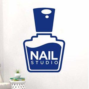 Stickers Muraux Stickers Art Applique Murale Nail Salon Bouteille Silhouette Belle Maquillage Salle De Beauté Magasin De Beauté Manucure Studio Décoration 37 & Times; 57 Cm