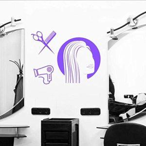 Stickers Muraux Stickers Art Applique Murale Salon Outils De Coupe De Cheveux Fille Coiffure Artistique Coupe De Cheveux Chambre Beauté Salon De Coiffure Décor 62X42 Cm