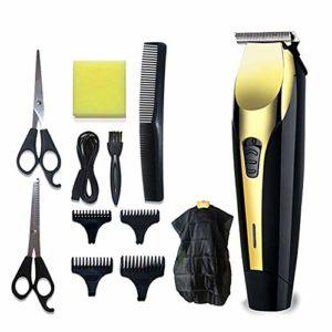 Tondeuse à cheveux pour homme – Sans fil – Rechargeable par USB – Ensemble de tondeuse à barbe – Kit de coupe de toilettage – Machine d'épilation électrique avec 4 peignes à faible bruit