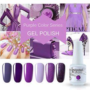 Vishine Lot de 6 Vernis Gel Semi Permanent Pourpre Violet Couleurs Soak Off UV LED Vernis à Ongles Gel Nail Polish Nail Gift Set 8ml