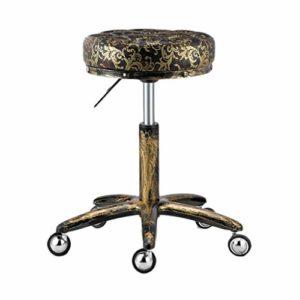 WGZ- Coiffure Tabouret, Tabouret Pulley spéciaux for les salons de beauté, salons de coiffure coiffure, manucure, coupe Rotating Tabouret cheveux (Color : Black gold)