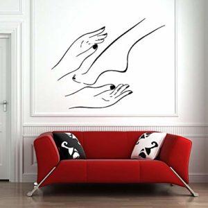 XCSJX Salon de manucure Stickers muraux Bain de Pieds Spa Boutique manucure pédicure Salon de beauté décoration intérieure Vinyle fenêtre Autocollant Art Papier Peint 68×53 cm Peut être personnalisé