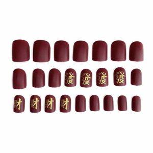 YFLDK Faux ongles 24 PCS caractère chinois adhésif gommage mat ongles autocollant décalcomanies classique carré tête courte ongles manucure outils avec de la colle