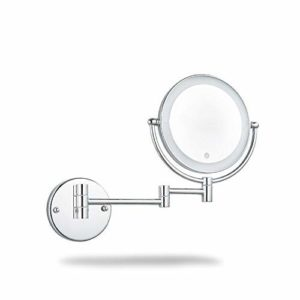 ZOOTUI® Miroir Maquillage Rond,Miroir De Maquillage Mural,Grossissant 3X,Rechargeable, Coins Arrondis,360 ° Horizontal Pivotant Et Vertical, Métal En Chromé,Convient Pour La Maison