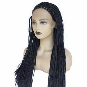 22 Pouces Tresse/Perruque Avant De Lacet pour Les Femmes Noires, Perruque Tresse Synthétique Naturel Noir Pas Cher Cadre Tressé Cheveux Drag Queen Perruque