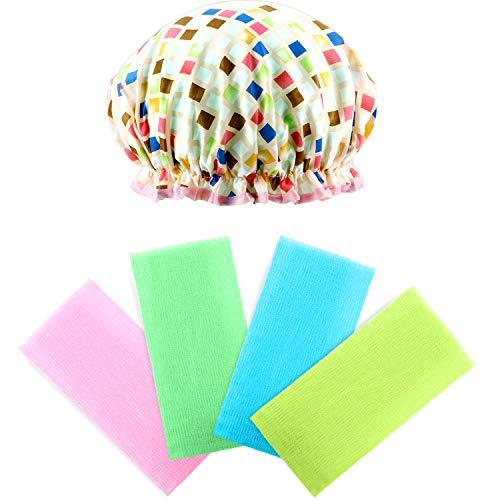 4 Pièces Serviette de Bain en Nylon pour Peau de Beauté, Jaune, Bleu, Vert et Rose avec 1 Pièce Chapeau de Douche Imperméable en Forme de Diamant Bonnet Cheveux de Bain