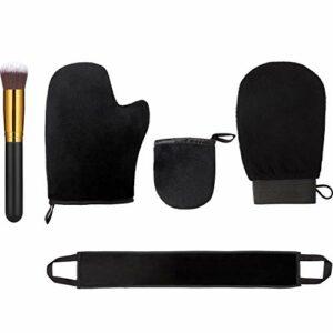 5 Kit d'Applicateur de Mitaines Autobronzantes, Comprenant Gant Exfoliant Mitaine de Bronzage Mini Mitaine de Visage Applicateur de Lotion de Dos avec Brosse Autobronzante Brosse de Maquillage Large