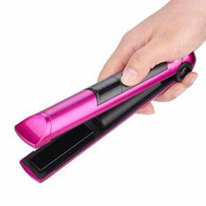 AICKERT Mini Fer à Lisser Cheveux et Bigoudi Sans fil 2 en 1,Enduit de Glaçure en Céramique, Chaleur de 30s,Soin des Cheveux à Température Constante de 180 Degrés,Petit et portable USB Charge /