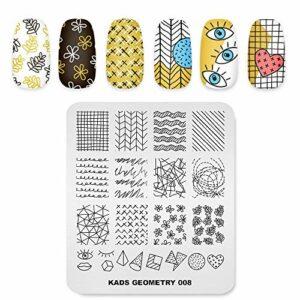 Alexnailart Modèle d'image Nail Art Stamping Plate avec motifs géométriques pour les yeux pour outils de transfert d'impression de manucure bricolage
