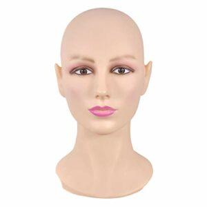 Amagogo Tête de Mannequin Femme Réaliste de 20 Po, Porte-perruque, étagère – Peau normal