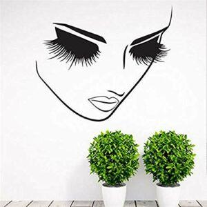 Amovible mode décoration de la maison mur art autocollants beauté cils spa salon autocollants femme visage yeux autocollants 57 * 70 cm
