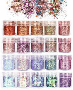 ANDERK Chunky Glitter, 20 boîtes Ensemble de Paillettes Ongles Paillettes Paillettes Glitter pour les Ongles et le Maquillage