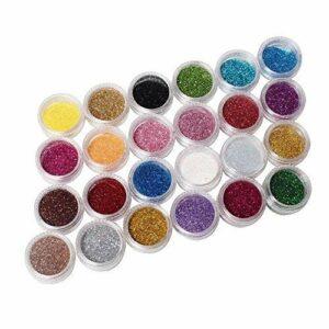 Ardisle – Lot de 24 pots de paillettes colorées Pour manucure Brillantes Pigment pour cheveux Décoration Couleurs arc en ciel Lot pour nail art