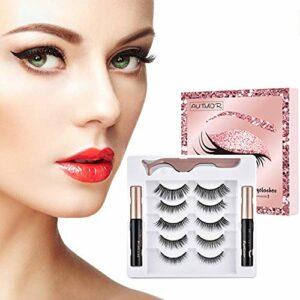 Autmor Fau Cils Magnétique, Faux Cils Magnétique Eyeliner Kit, 3D Naturel Faux Cils, Réutilisables sans Colle, Cils Magnétiques et 2 Magnetic Eyeliner, Pincettes, Imperméable Eyeliner Magnétique