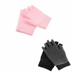 Baoblaze 2 Paires Gants Sans Doigts en Gel + Coton Mitaines Demi-doigts pour Soins de Main