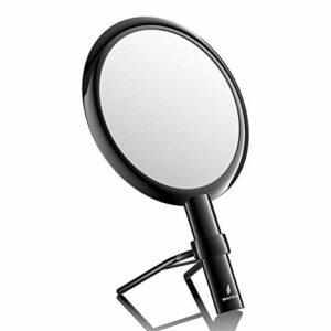 Beautifive Miroir à main avec poignée réglable, grossissant 1x/7x double face miroir de maquillage avec support pour coiffeuse de beauté, bureau, salle de bain, noir