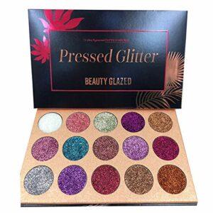 BEAUTY GLAZED 15 Couleurs Longue Durée Glitter Palette de Ombre a Paupiere Eyeshadow Shimmer Fard a Paupiere Brillant Maquillage
