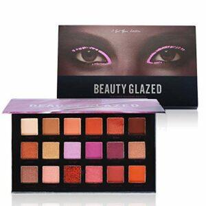 BEAUTY GLAZED 18 Couleurs Beaute Highlighter Palette de Ombre a Paupiere Eyeshadow Shimmer Fard a Paupiere Mat Brillant Maquillage