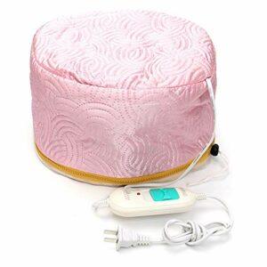 Bonnet chauffant électrique pour pose de soins capillaires et bain d'huile (rose)
