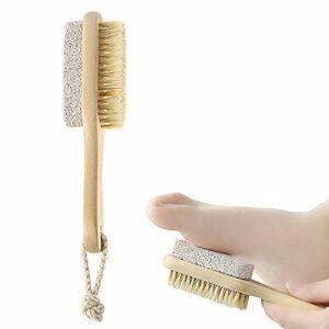 Brosse de soin de pédicure naturelle 2 en 1 avec pierre naturelle et cheveux doux en haut et en bas Convient aux soins de la peau sèche, du coude, des mains ou des pieds