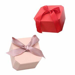 Cabilock 2Pcs Boîte-Cadeau de Parfum avec Ruban de Couverture Et Lafite pour Les Cadeaux de Noël D'anniversaire de Douches Nuptiales de Mariage (Rose Rouge)