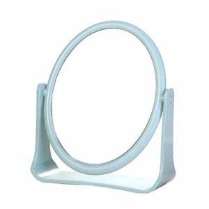 CAOLATOR Miroir de Maquillage Double Face Miroir de Table Grossissant 19 * 16cm Ronde Miroir Coiffure pour Maquillage Rasage Toilettage Brossage Bleu