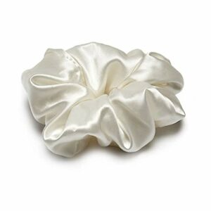 Chouchou 100 % soie de mûrier 22 momme pur naturel doux style bohème vintage beauté femme fille (blanc)
