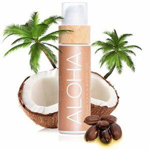 COCOSOLIS Aloha – Huile bronzante chocolat, huile Bio pour un bronzage naturel – Crème pour un bronzage chocolat – Six huiles naturelles pour une peau éclatante – 110 ml