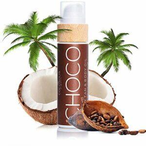 COCOSOLIS Choco – Huile bronzante chocolat, huile Bio pour un bronzage naturel – Crème pour un bronzage chocolat – Six huiles naturelles pour une peau éclatante – 110 ml