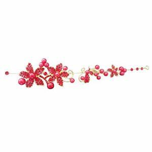 Contever® Élégant Cheveux Accessoires Fleur Beauté Cristal Bandeau Hairpins Clip Mode Party Wedding Femmes – Rouge