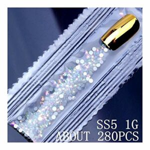 CZYU® 6G 1500PCS SS3-SS10 Crystal Strass AB Flat Retour Ongles Strass 3D Non Nail Art Décoration Outil Bricolage Manucure Verre (Color : Clear AB ss5 1g)