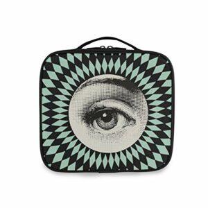 DEZIRO Sac de rangement multifonction avec motif yeux vertigineux – Sac de maquillage – Poignée supérieure – Organiseur de maquillage – Pour femme