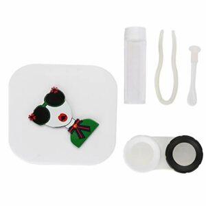 dgtrhted 2colors Motif Cartoon Portable Soin des Yeux Lentilles de Contact Kit conteneur avec Miroir (Blanc)