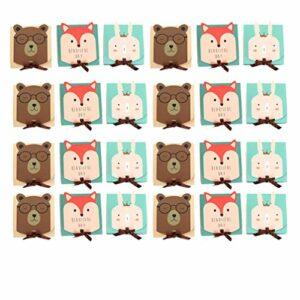 DOITOOL 18Pcs Boîte de Bonbons de Dessin Animé en Ivoire Conseil Lapin Ours Renard Traiter Goody Box Conteneur Demballage de Mariage pour La Fête Porte-Cadeau en Chocolat Bébé Douche