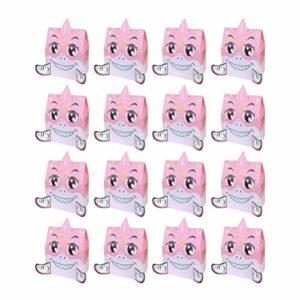 DOITOOL 50 Pcs Requin Boîte De Bonbons Papier De Bande Dessinée Traiter Boîte De Bonbons Pour La Fête De Mariage Faveur Cookie Alimentaire Cadeau Emballage Bébé Douche Fourniture (Rose)