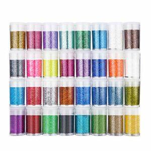 duoledaeu Paillettes Fines pour Art & Craft, 32 Couleurs Paillette Cosmétiques Glitter Fines pour Ongles Nail Art, Maquillage, Corps, Cheveux