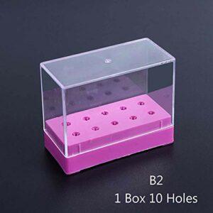 ELYQNNN 5/10/20 Trous Foret à Ongles présentoir conteneur Acrylique étui de Support Nail Art Foret Vide boîte de Rangement manucure Accessoire Sa867 B2