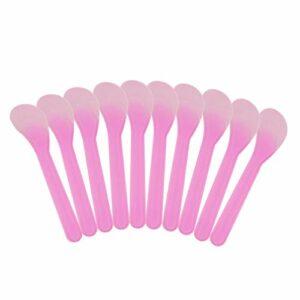 EXCEART 100Pcs Maquillage Spatule Givrée Spatule Tatouage Réparation Crème Bâtons Jetables en Plastique Spatule Crème Maquillage Outils (Rose)