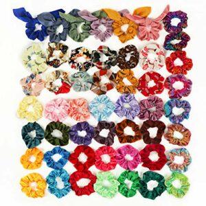 Fansteck Chouchous en Cheveux – 50 pcs Élastiques à cheveux Couleurs assortis Chouchous Bandeaux De Soie Fleurs Cravates Cordes Accessoires Beauté pour filles ou femmes