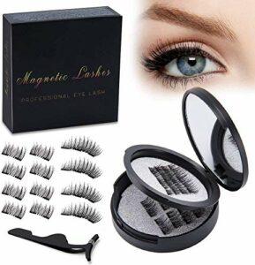 Faux Cils Magnétique Naturel, Lot de 12 Cils Magnétiques Effet 3D Fait Main Réutilisables Ultra Fins avec Pince et Miroir Maquillage dans Une Boîte Ronde Charmant