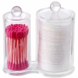 FHKBB Support de tampons en Coton Organisateur de Maquillage Cosmétiques Maquillage Support de Coton-Tige Distributeur de tampons en Coton, 4 Sections (Couleur: B)