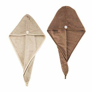 freneci 2Pcs Serviette de Séchage de Cheveux Absorbante pour Femmes Turban Bonnet de Bain Anti-Frisottis