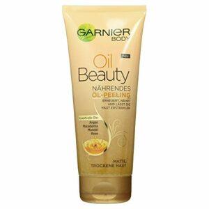 Garnier Oil Beauty Huile Exfoliante Nourrissante pour le Corps, Nettoyage en Profondeur avec 4 Huiles de Beauté: Argan, Macadamia, Amande et Rose, 200 ml