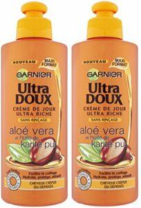 Garnier Ultra Doux Aloé Vera et Huile de Karité Pur – Crème de soin sans rinçage Cheveux Très Secs ou Frisés – Lot de 2