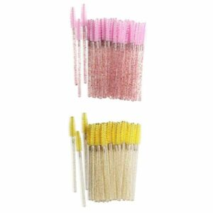 Hellery 200 Bâtons de Mascara Jetables, Brosses à Cils, Applicateur, Outil de Maquillage