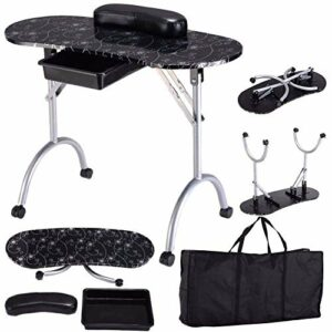 HHRWM 35in Portable Pliable Table à Ongles MDF Manucure Bureau Technicien Station De Travail avec Oreiller À Main en Cuir Et Tiroir Salon Spa Ongles Art Outil,Black